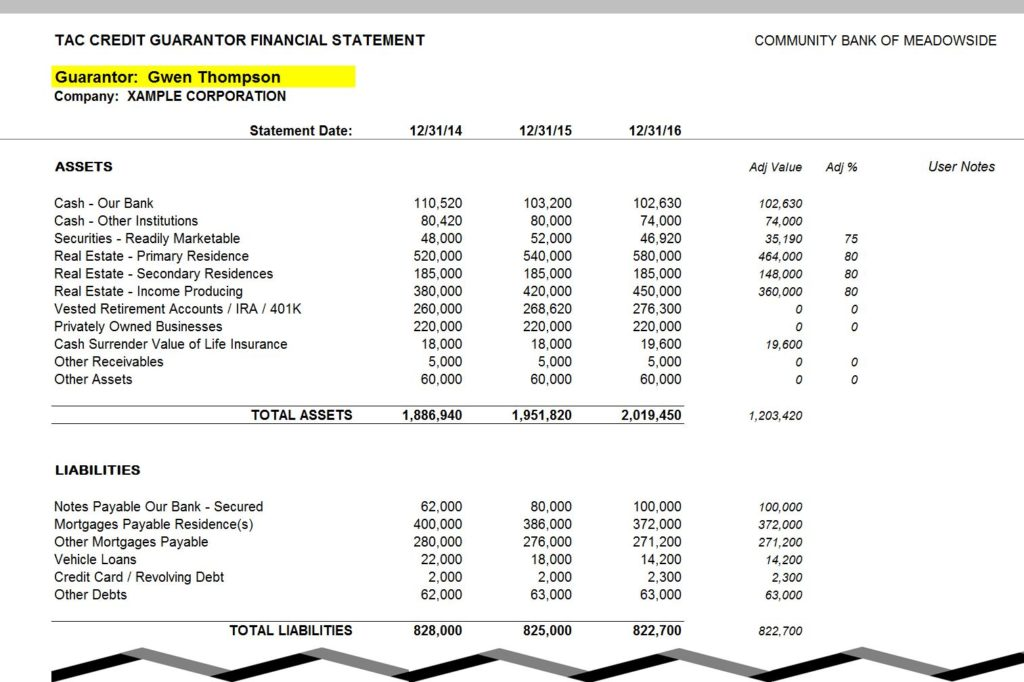 personal financial statement balance sheets guarantors